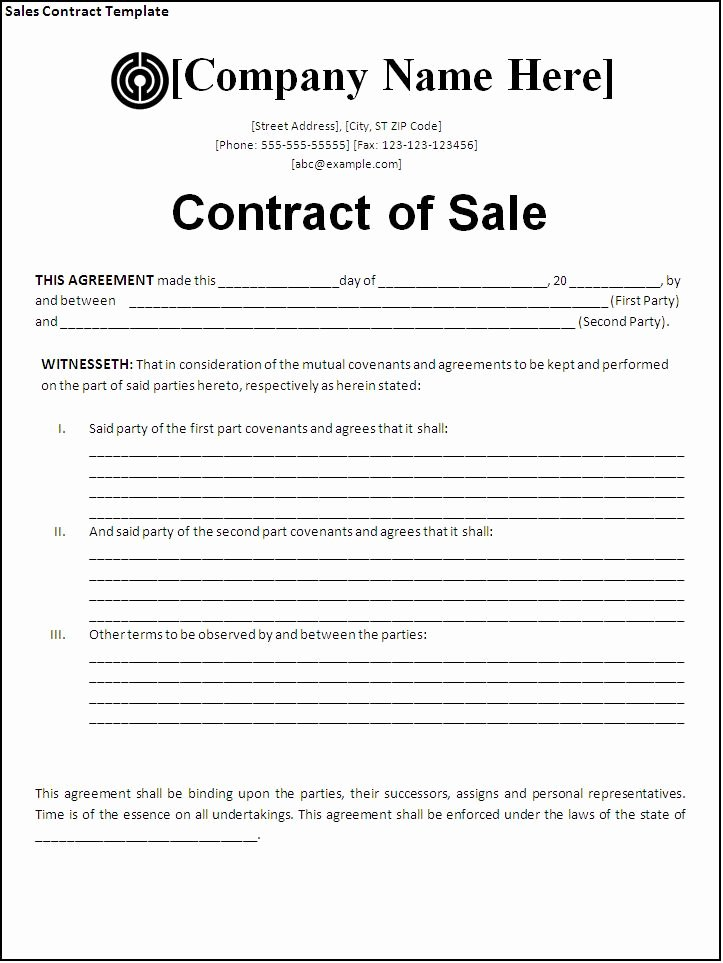 Simple Business Contract Template Best Of Sales Contract Template