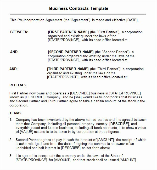 Simple Business Contract Template Fresh Business Contract Template 7 Free Pdf Doc Download