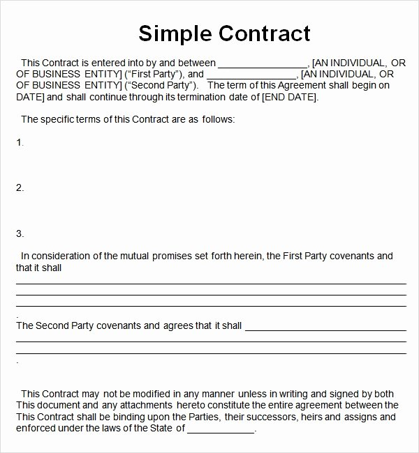 Simple Business Contract Template Luxury Simple Contract Template