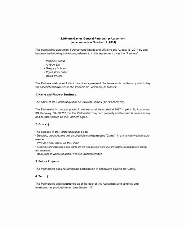 Simple Business Contract Template New 6 Simple Business Partnership Agreements