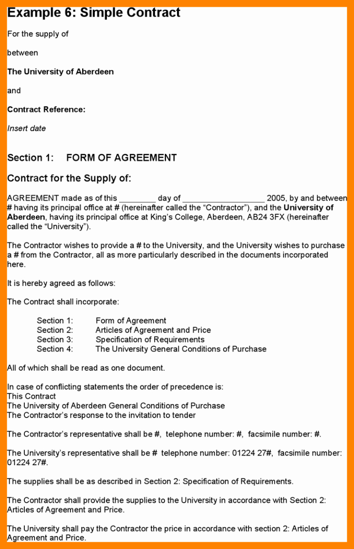 Simple Business Contract Template New Template Simple Contract Template