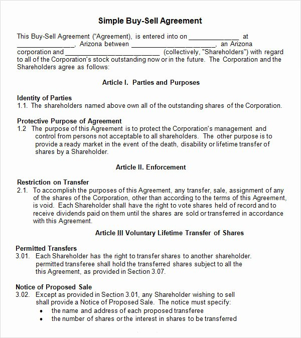 Simple Buy Sell Agreement Template Lovely 18 Sample Buy Sell Agreement Templates Word Pdf Pages