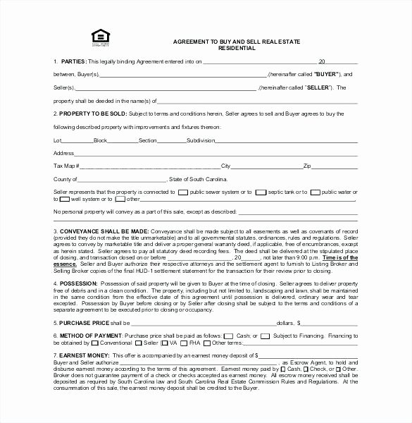 Simple Buy Sell Agreement Template New Home Purchase Agreement Template Free Sale Real Estate