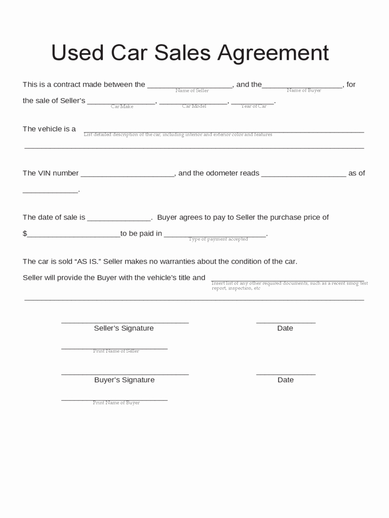 Simple Buy Sell Agreement Template Unique Car Sale Contract form 5 Free Templates In Pdf Word Excel