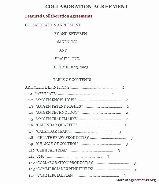 Simple Collaboration Agreement Template Awesome Collaboration Agreement Template ative Agreement Template