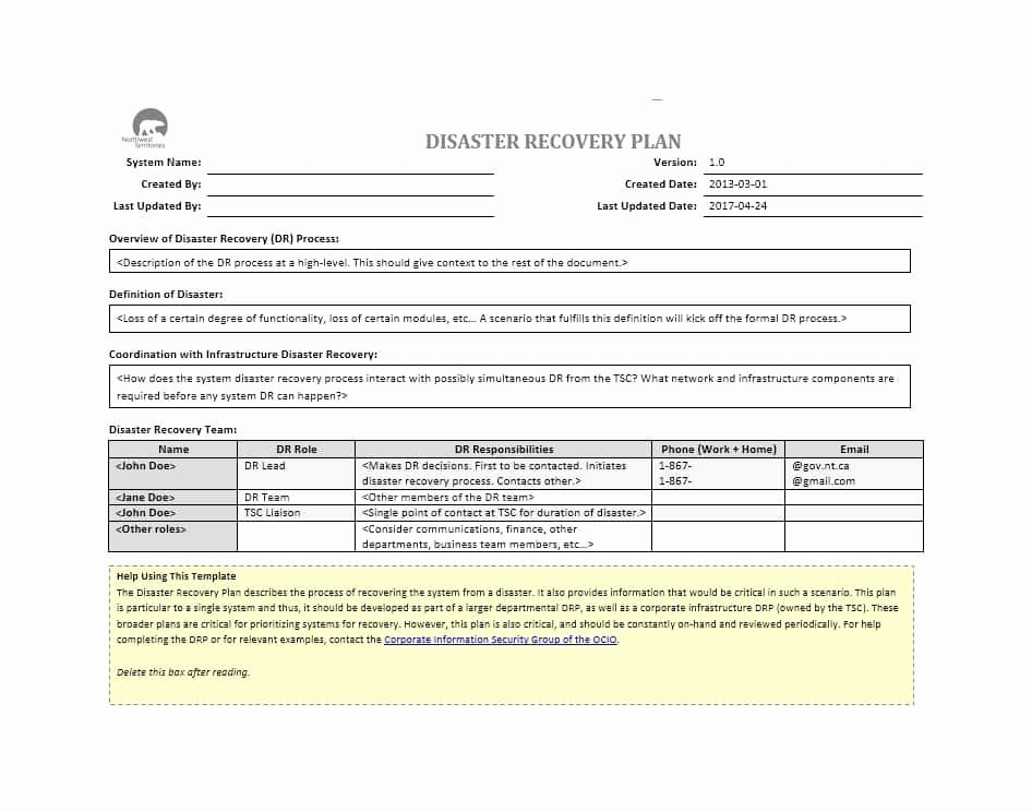 Simple Disaster Recovery Plan Template Elegant Disaster Recovery Plan Template 07 Template Lab