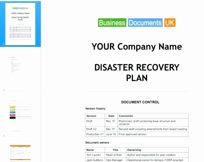 Simple Disaster Recovery Plan Template Fresh Simple Disaster Recovery Plan Template for Small Business