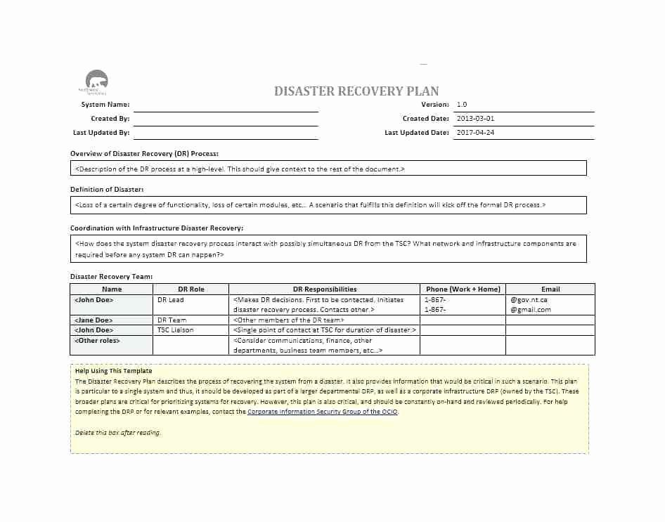 Simple Disaster Recovery Plan Template Inspirational Simple Disaster Recovery Plan Template for Small Business