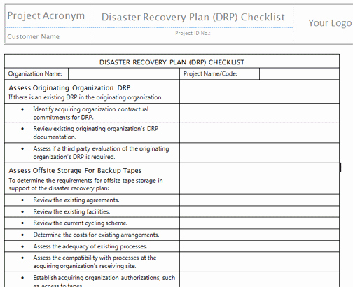 Simple Disaster Recovery Plan Template New Disaster Recovery Plan Template