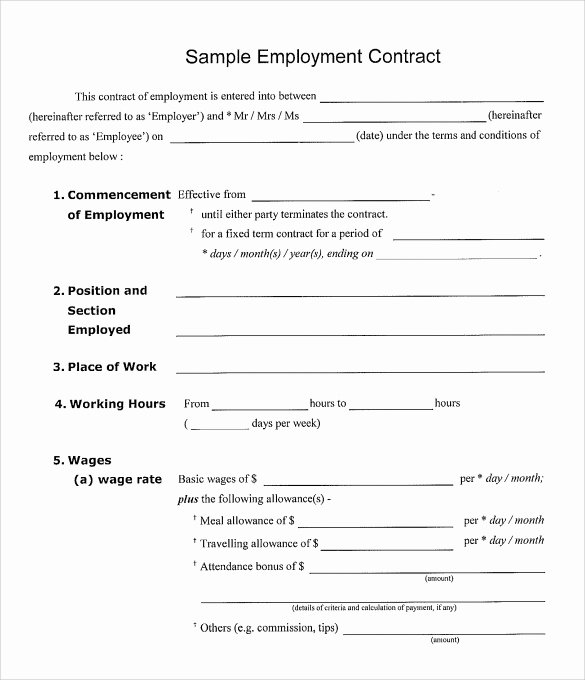 Simple Employment Contract Template Free Beautiful Basic Employee Contract Template Templates Resume
