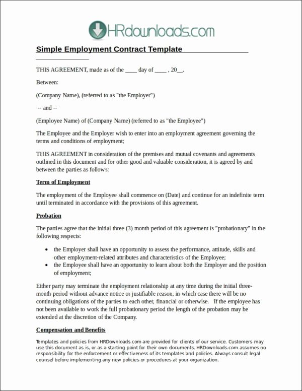 Simple Employment Contract Template Free Best Of 20 Employee Contract Samples & Templates