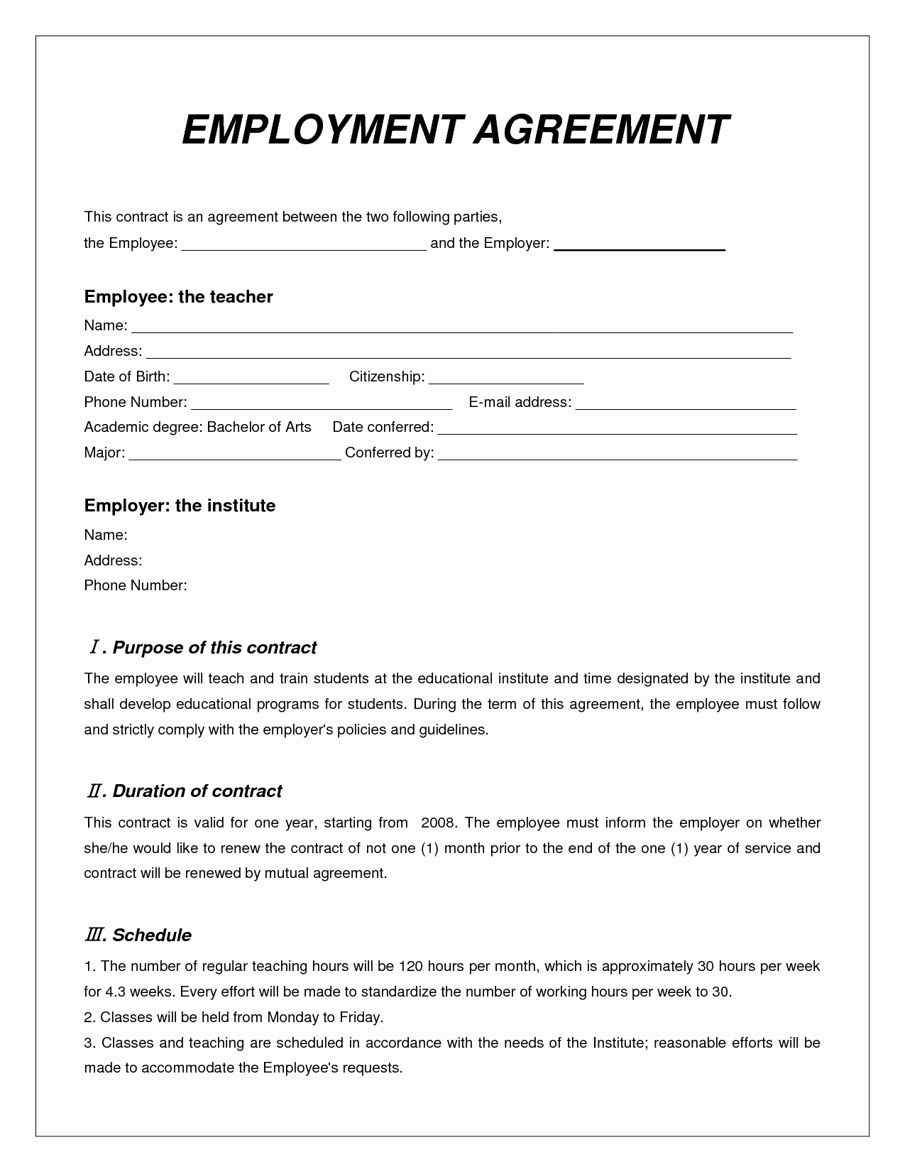 Simple Employment Contract Template Free Fresh Labor Contract Template Invitation Templates