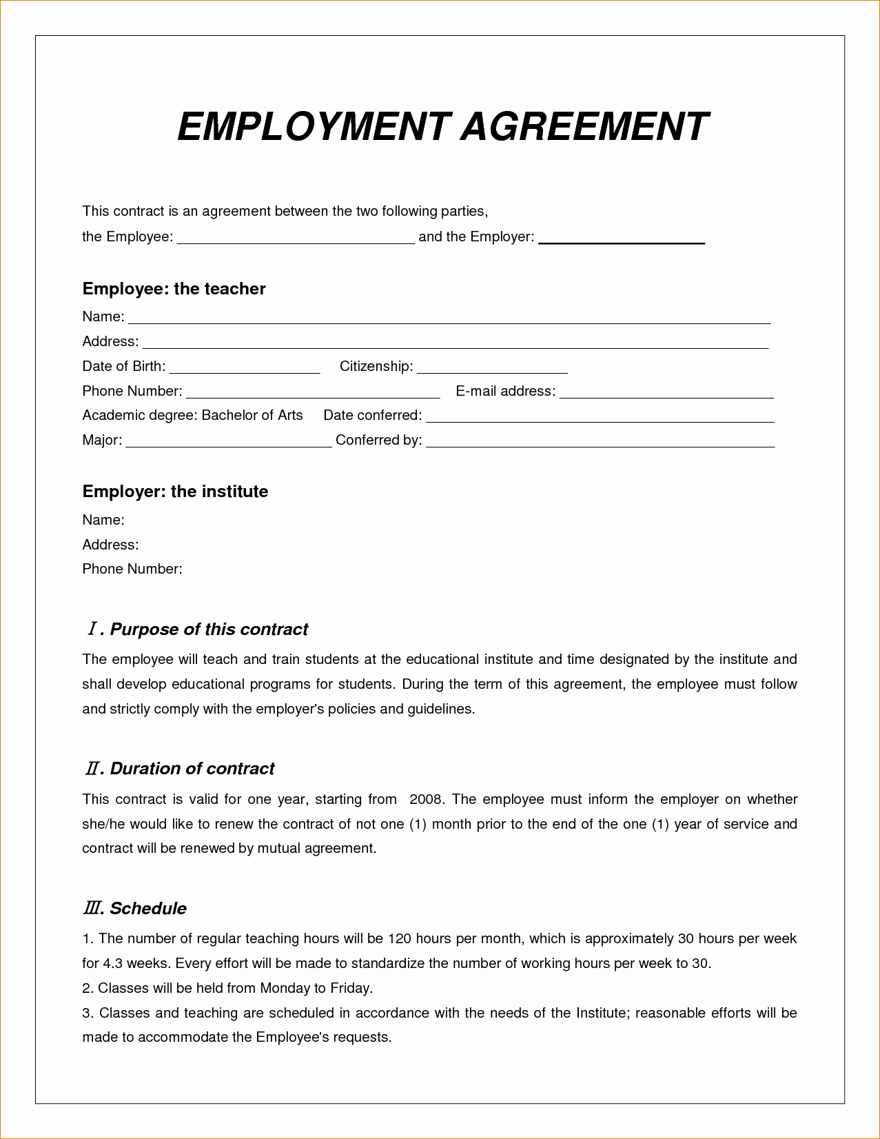 Simple Employment Contract Template Free Inspirational 8 Employee Contract Template