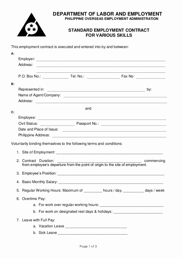 Simple Employment Contract Template Free Lovely Poea Standard Employment Contract for Various Services