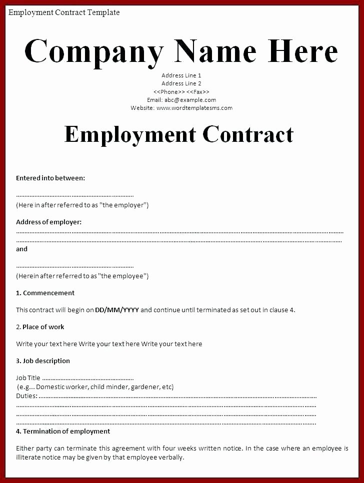 Simple Employment Contract Template Free Luxury Simple Employment Zero Hour Contract Template Free Tes In