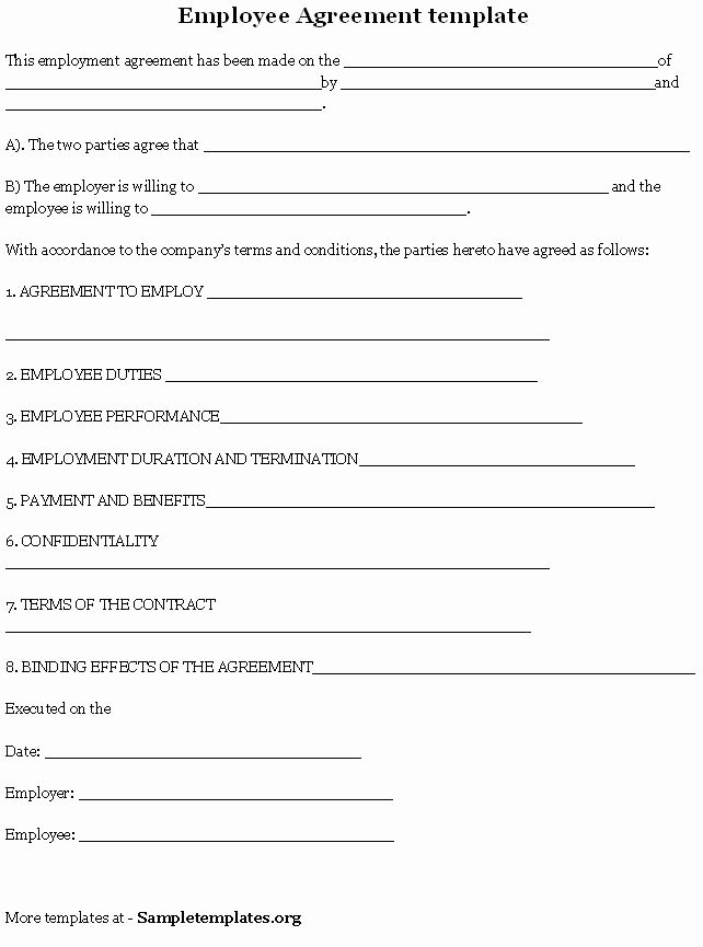 Simple Employment Contract Template Free Unique 10 Best Of Work Contract Agreement form Real