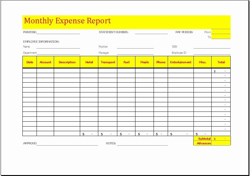 Simple Expense Report Template Beautiful Monthly Expense Report Template Download at