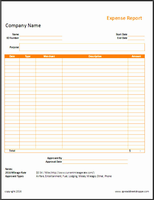 Simple Expense Report Template Luxury 10 Expense Report Template Sampletemplatess