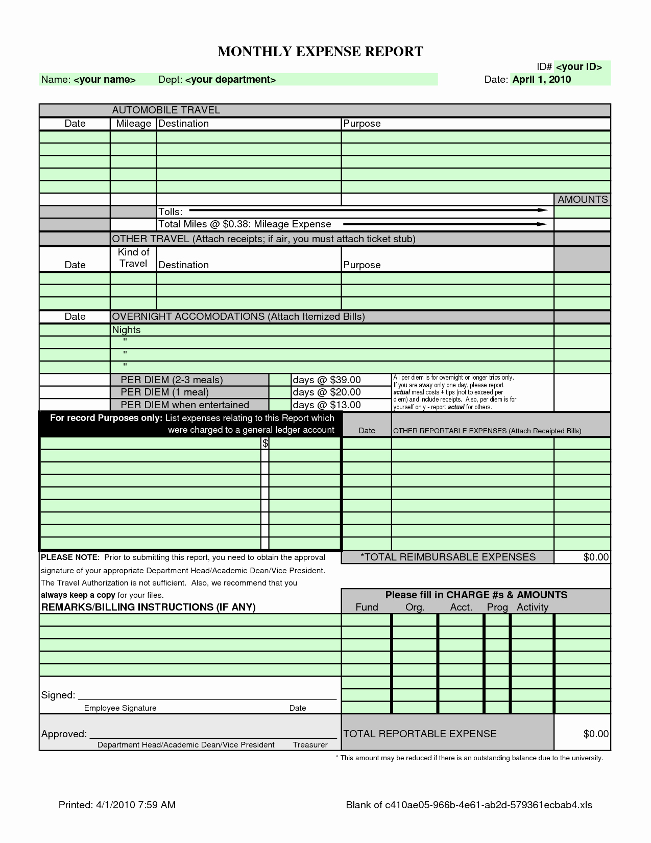 Simple Expense Report Template Unique Monthly Expense Report Template