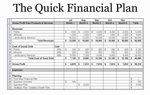 Simple Financial Plan Template Lovely Small Business Finance Template