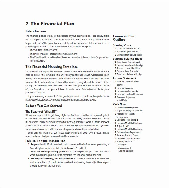 Simple Financial Plan Template Unique Business Plan Template Financial Advisor Templates