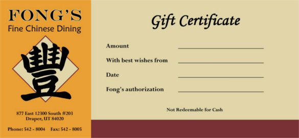 Simple Gift Certificate Template Awesome 20 Restaurant Gift Certificate Templates – Free Sample