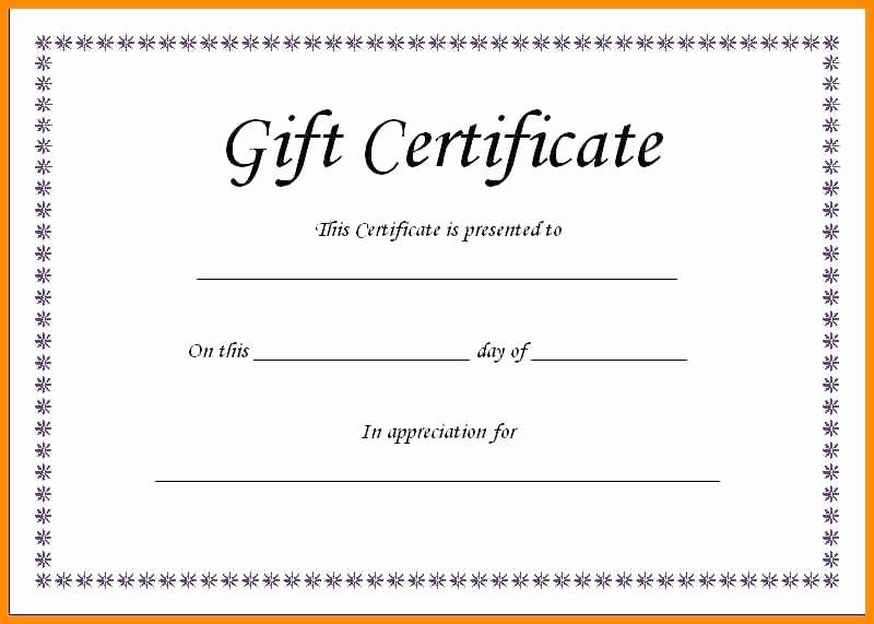 Simple Gift Certificate Template Awesome Word Gift Card Template Simple Certificate Baby Microsoft