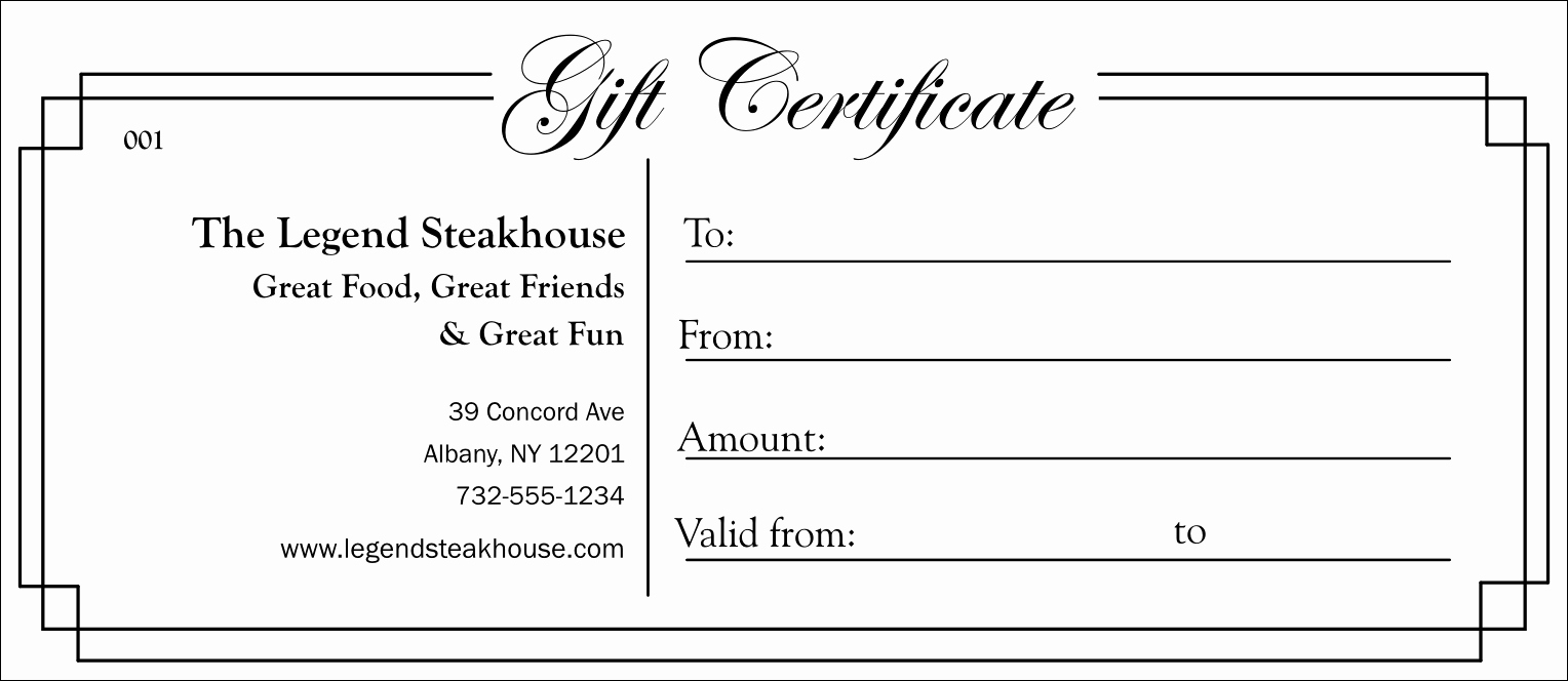 Simple Gift Certificate Template Beautiful Black and White Gift Certificate 003