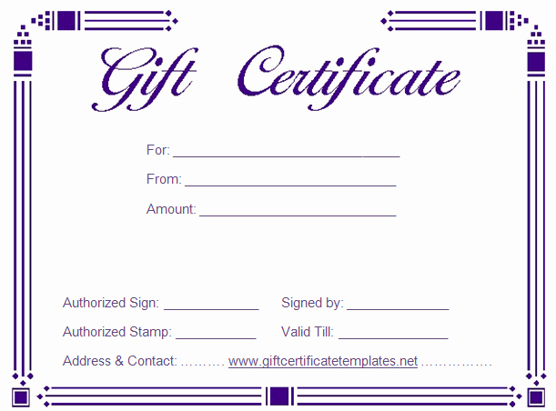 Simple Gift Certificate Template Beautiful Gift Certificate Templates