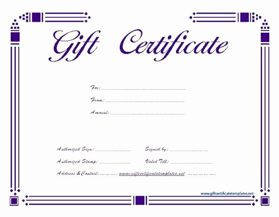 Simple Gift Certificate Template Fresh Simple Purple T Certificate Template
