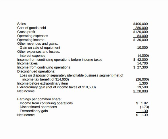 Simple Income Statement Template Beautiful 13 In E Statements – Samples Examples & format