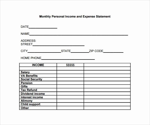 Simple Income Statement Template Unique Free In E and Expense Statement Template