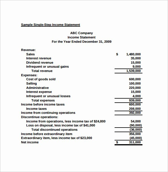 Simple Income Statement Template Unique Simple In E Statement 6 Samples Examples & format
