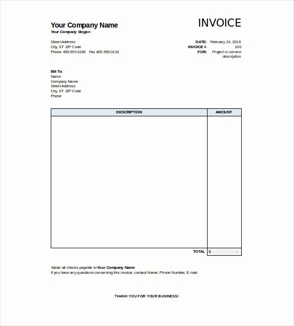 Simple Invoice Template Excel Awesome 28 Blank Invoice Templates