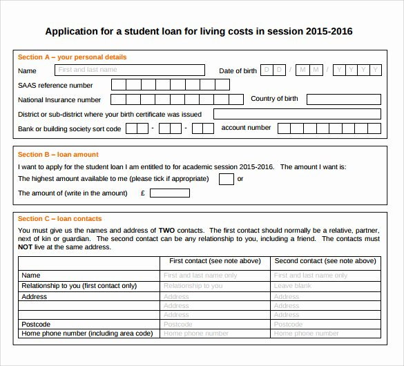 Simple Loan Application form Template Awesome 8 Students Loan Application forms to Download for Free