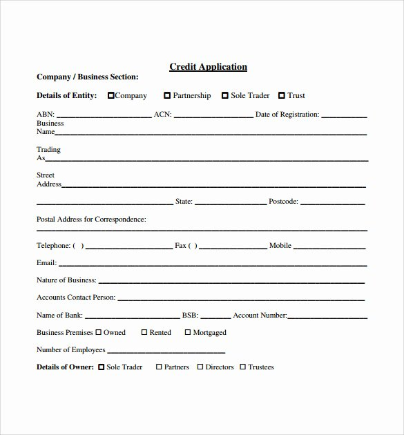 Simple Loan Application form Template Unique Credit Application forms 9 Documents Free Download In