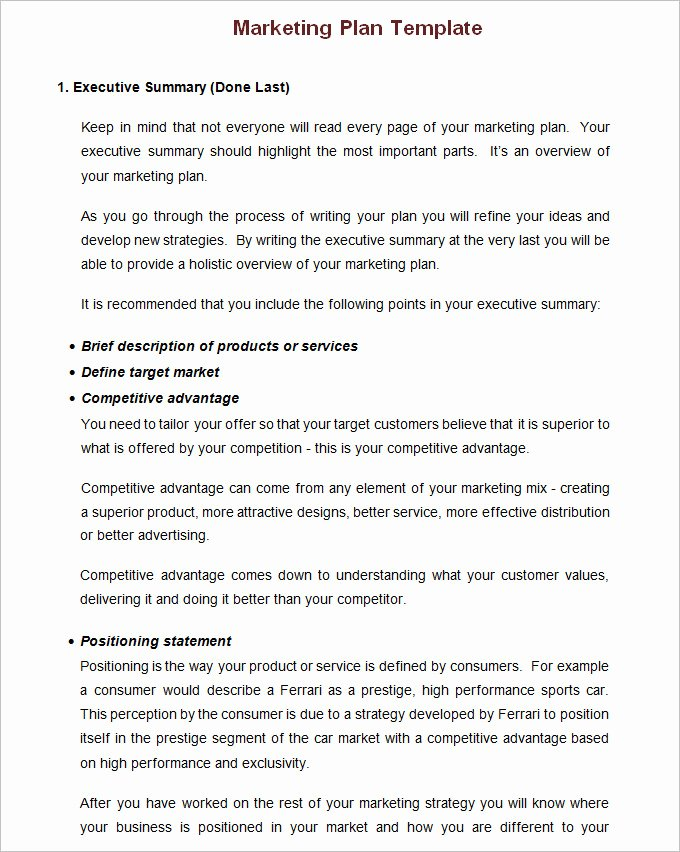 Simple Marketing Plan Template Lovely Annual Marketing Plan Template Free Word Pdf Documents