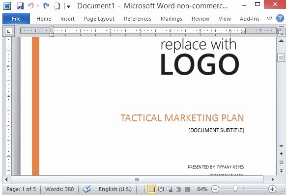 Simple Marketing Plan Template New Free Marketing Strategy Template for Word