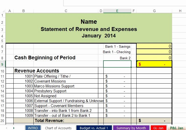 Simple Nonprofit Budget Template New Church Accounting and Free Financial Spreadsheets
