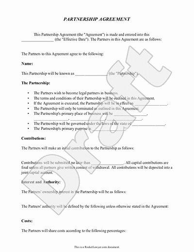 Simple Partnership Agreement Template Doc Awesome Partnership Agreement Template form with Sample