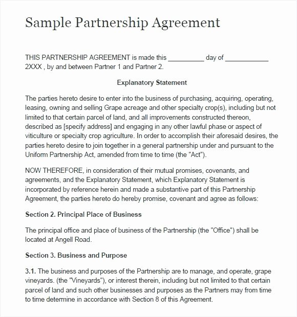 Simple Partnership Agreement Template Doc Best Of Simple Partnership Agreement Template Business Free