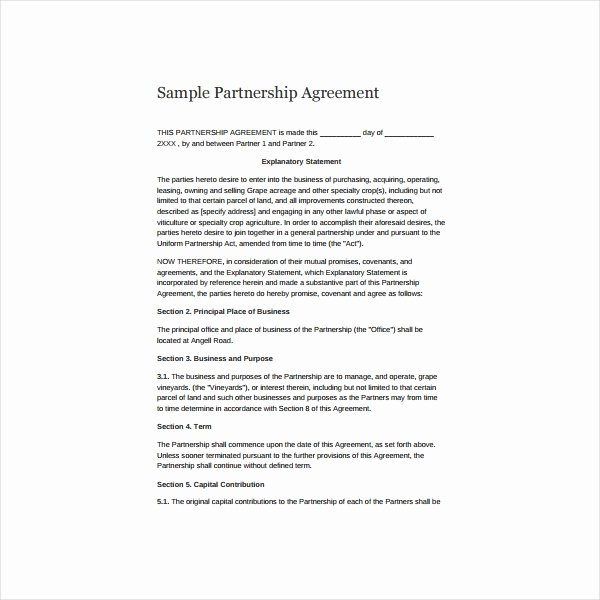 Simple Partnership Agreement Template Doc Elegant 6 Simple Partnership Agreement Templates Samples and