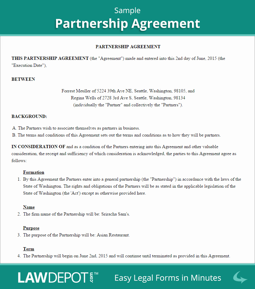 Simple Partnership Agreement Template Doc Elegant Partnership Agreement Template Us