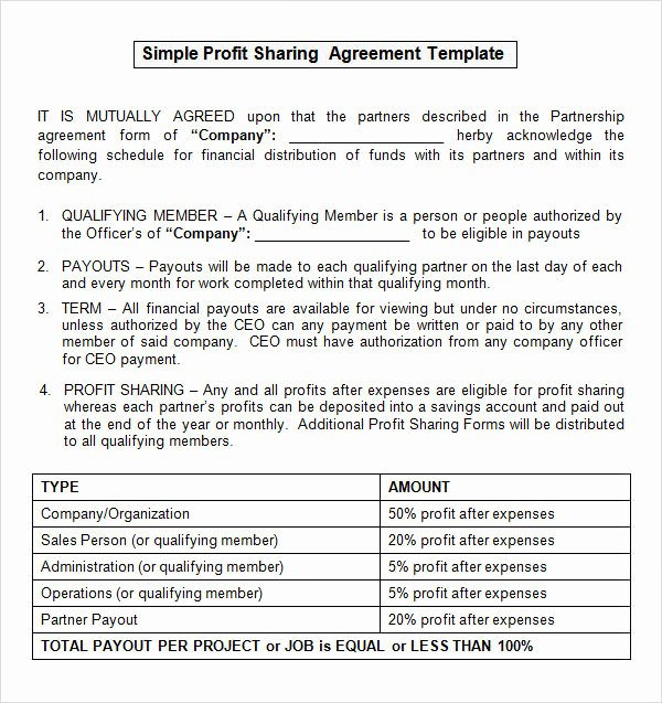 Simple Partnership Agreement Template Doc Elegant Sample Profit Sharing Agreement 10 Free Documents In