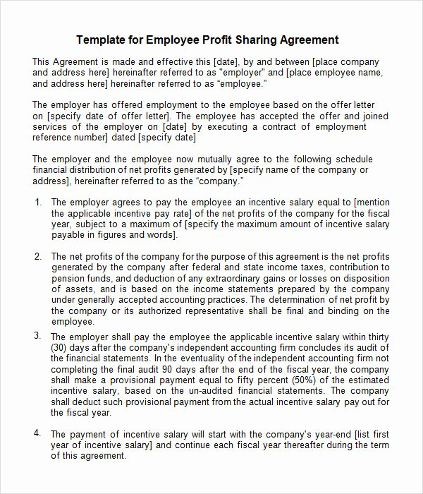 Simple Partnership Agreement Template Doc Inspirational Sample Profit Sharing Agreement 10 Free Documents In