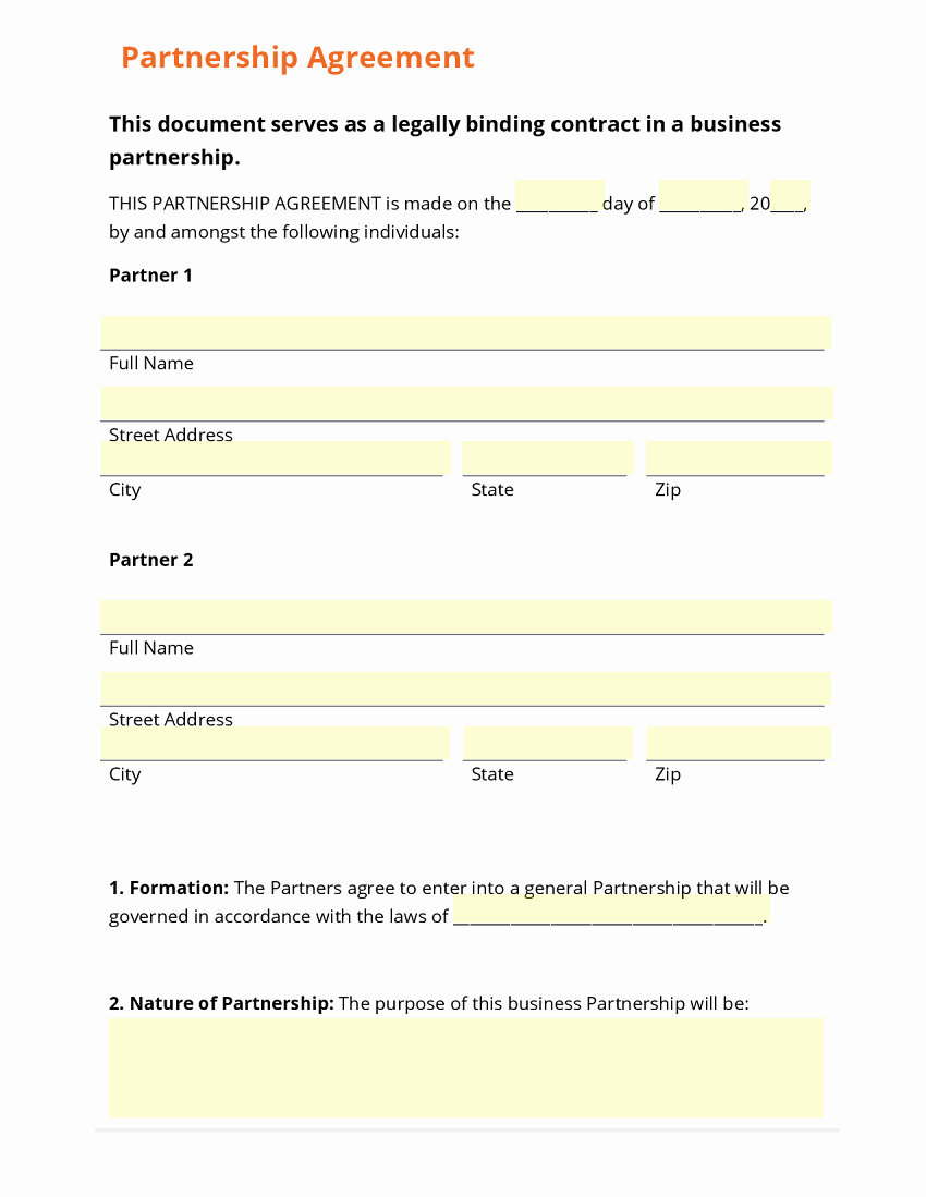 Simple Partnership Agreement Template Doc Lovely Business form Template Gallery