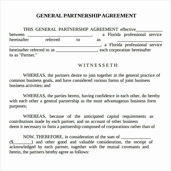 Simple Partnership Agreement Template Doc New Partnership Agreement 9 Free Pdf Doc Download