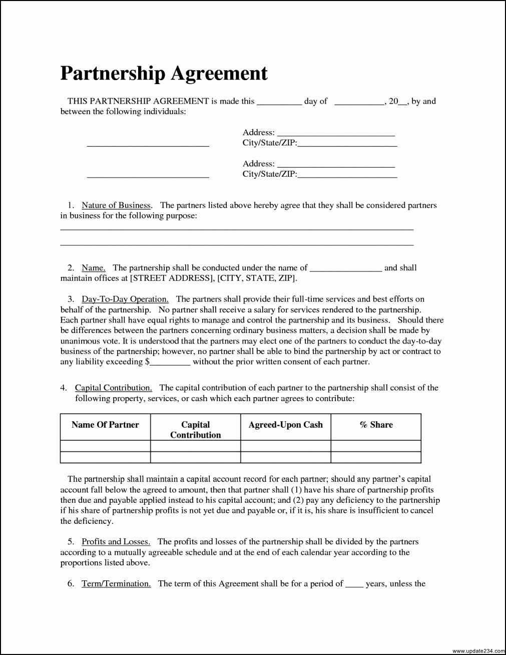 Simple Partnership Agreement Template Doc New Simple Partnership Agreement Template Template Update234