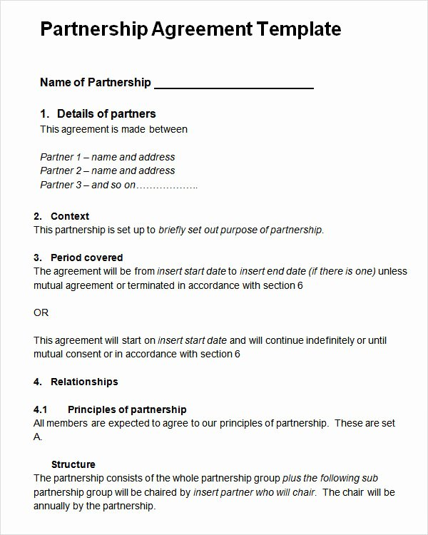 Simple Partnership Agreement Template Free Beautiful 16 Partnership Agreement Templates