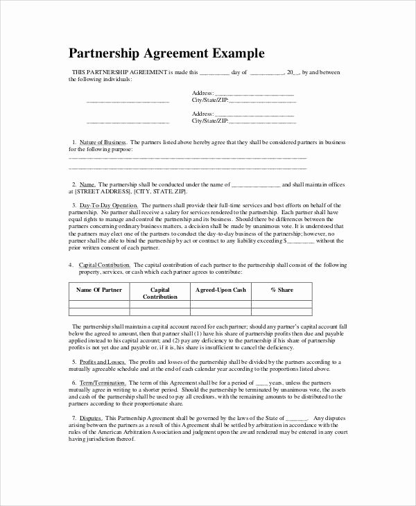 Simple Partnership Agreement Template Free Beautiful 6 Simple Business Partnership Agreements